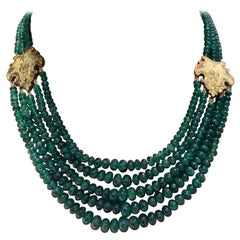 Emerald Graduated Bead Necklace