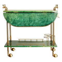 Emerald Green Aldo Tura Lacquered Goatskin and Brass Drop-Leaf Bar Cart, Signed