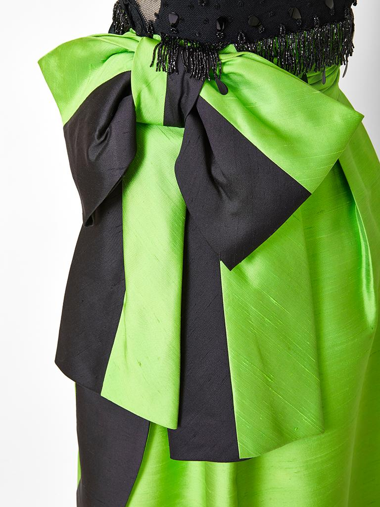 Emerald Green and Black Gown Attributted to Irene Galitzine C. 1960's For Sale 1