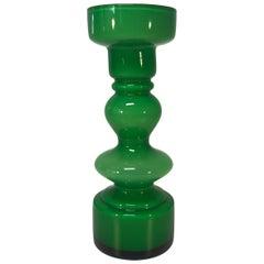 Emerald Green Cased Glass Hooped Vase, Scandinavian Lindshammar, 1960s-1970s