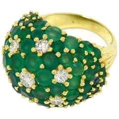Emerald Green Chalcedony Diamond Dome Cocktail Ring 1970s Mod Flower 18K Gold