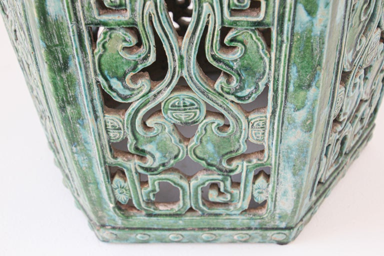Emerald Green Chinese Ceramic Garden Stool For Sale 4