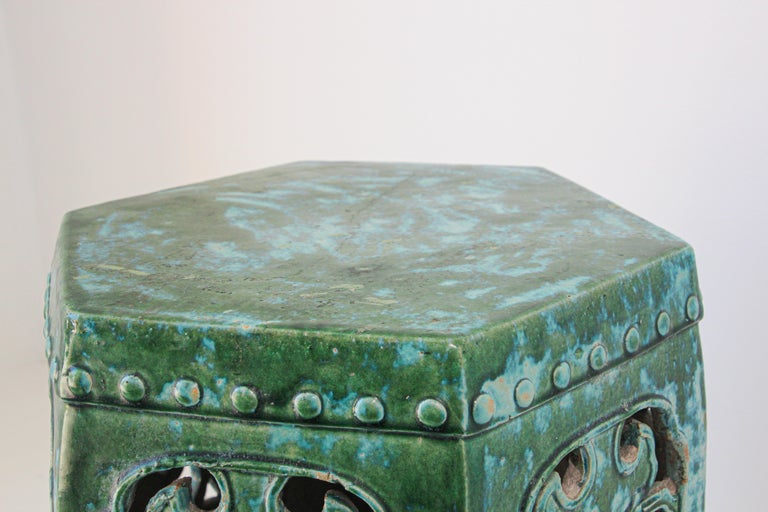 Emerald Green Chinese Ceramic Garden Stool For Sale 5