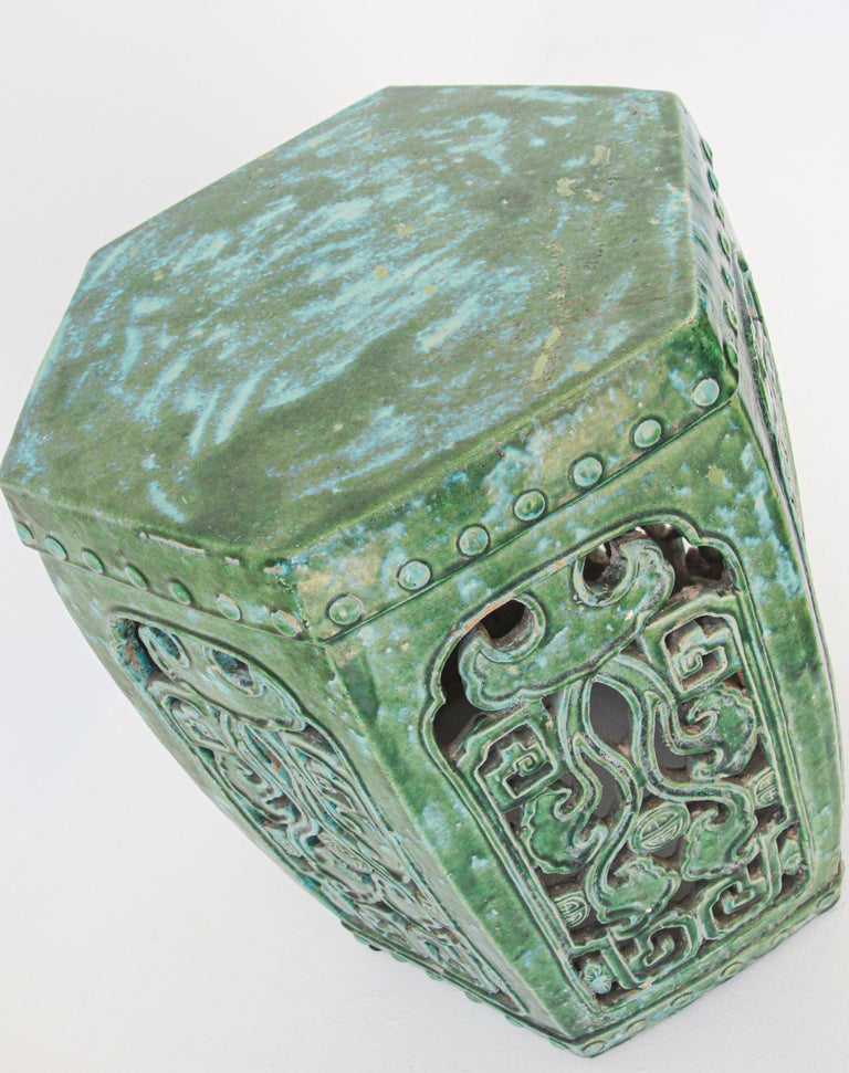 Emerald Green Chinese Ceramic Garden Stool For Sale 6