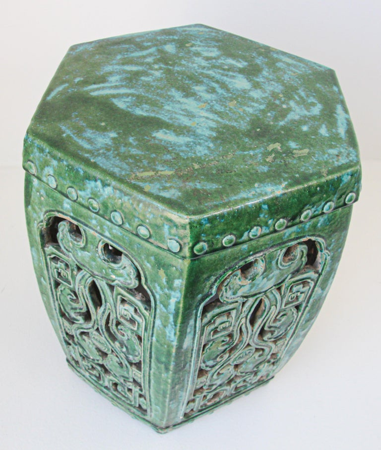 Emerald Green Chinese Ceramic Garden Stool For Sale 7