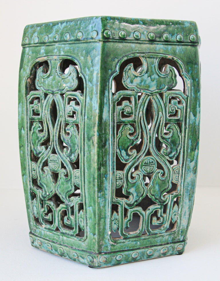 Emerald Green Chinese Ceramic Garden Stool For Sale 8