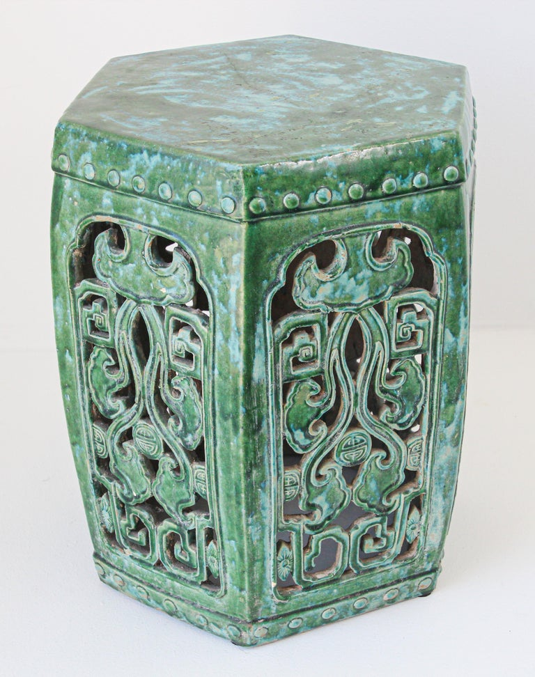 Emerald Green Chinese Ceramic Garden Stool For Sale 9