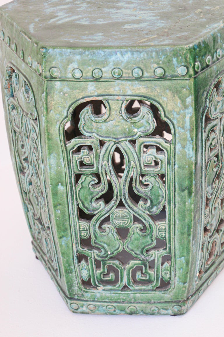Chinese Export Emerald Green Chinese Ceramic Garden Stool For Sale