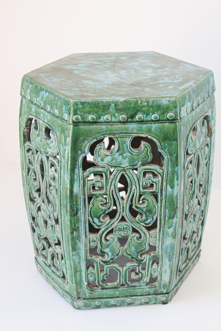 20th Century Emerald Green Chinese Ceramic Garden Stool For Sale