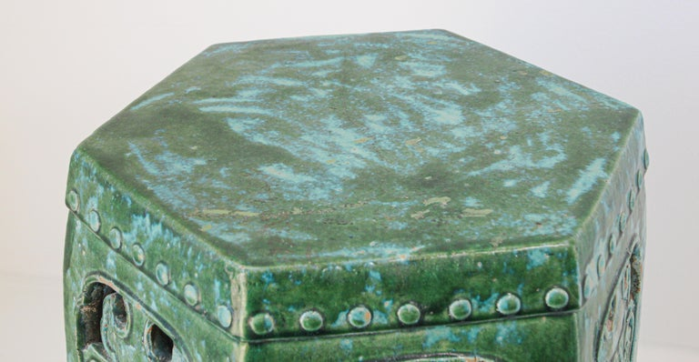 Emerald Green Chinese Ceramic Garden Stool For Sale 1