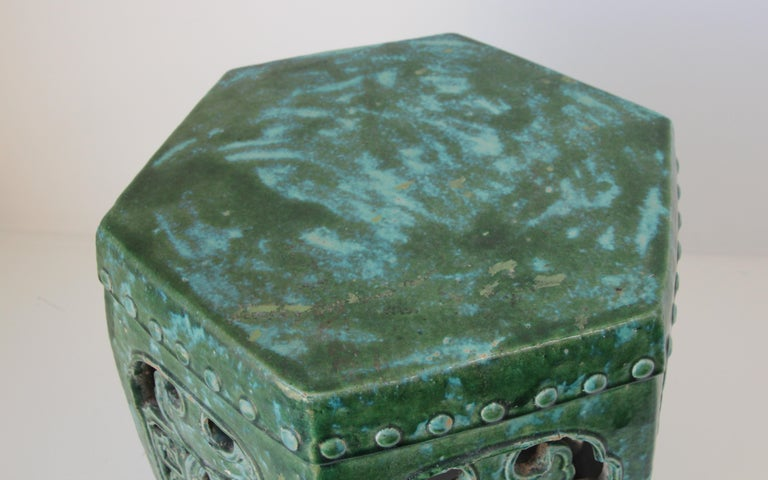 Emerald Green Chinese Ceramic Garden Stool For Sale 2