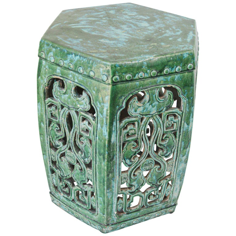 Emerald Green Chinese Ceramic Garden Stool For Sale