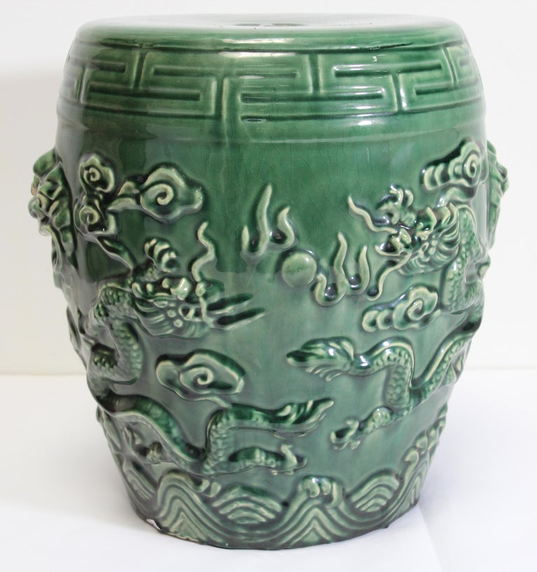 Emerald Green Chinese Ceramic Garden Stool With Dragons At
