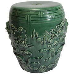 Emerald Green Chinese Ceramic Garden Stool with Dragons