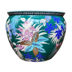 Emerald Green Chinese Fish Bowl Garden Planter in Floral Botanical Motif