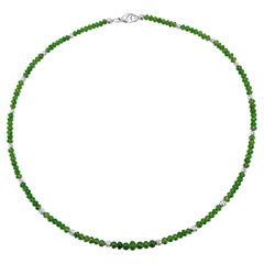 Emerald Green Chromium Diopside Rondel Beaded Necklace with 18 Carat white Gold