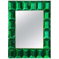 Emerald Green Diamond Murano Glass Mirror, in Stock