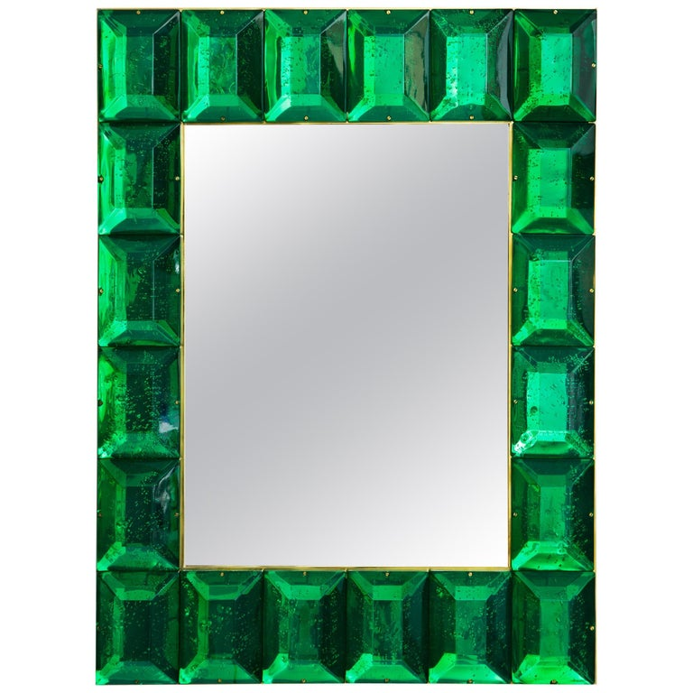 Emerald Green Diamond Murano Glass Mirror, in Stock For Sale