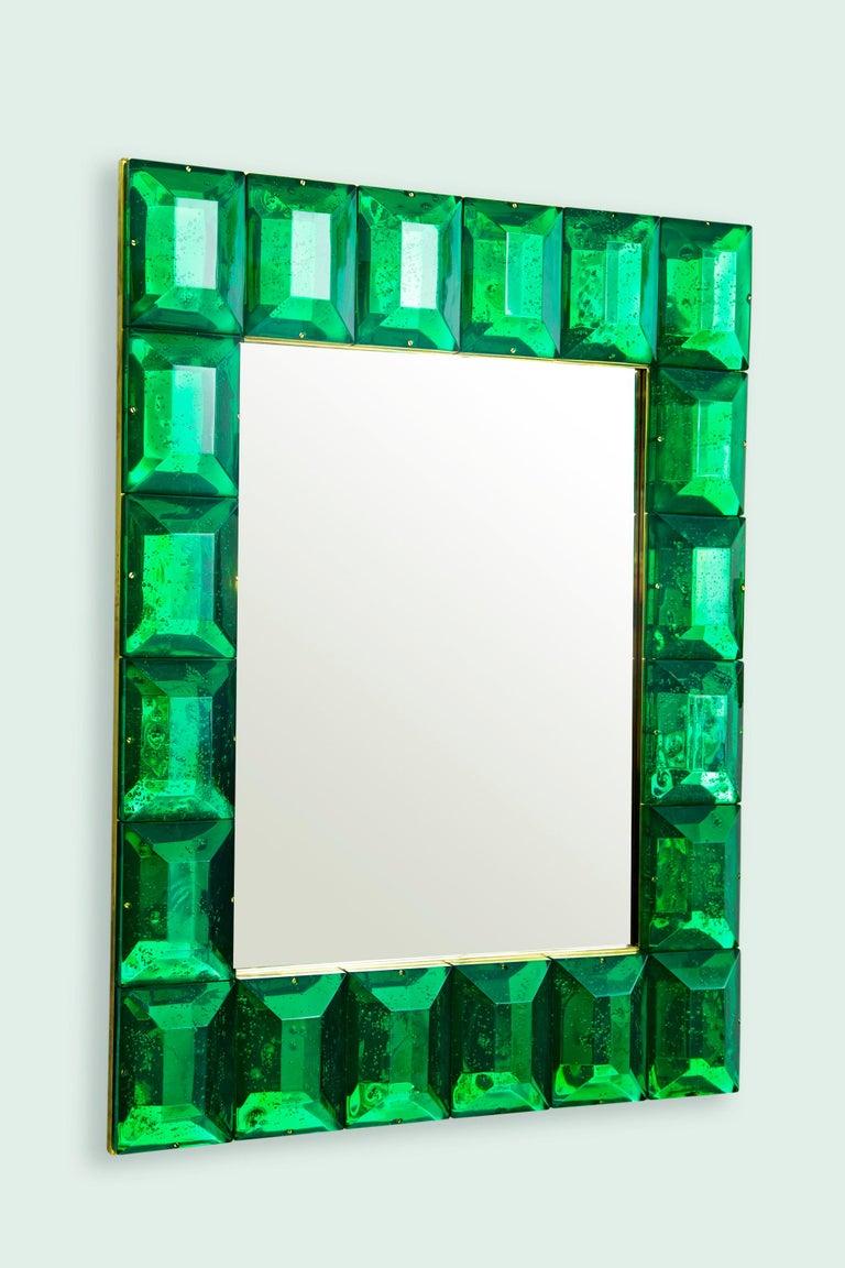 Mid-Century Modern Emerald Green Diamond Murano Glass Mirror, in Stock For Sale