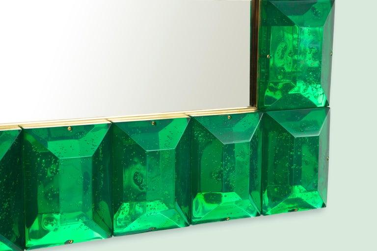 Emerald Green Diamond Murano Glass Mirror, in Stock In Excellent Condition For Sale In Miami, FL