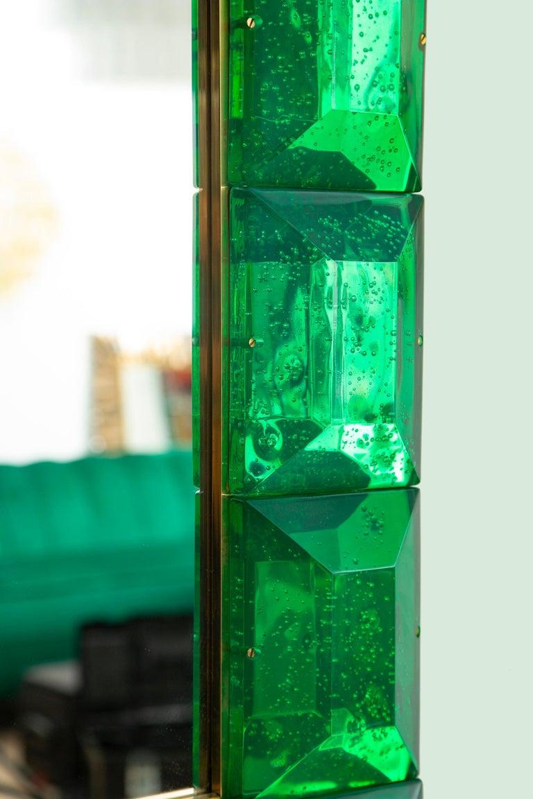 Contemporary Emerald Green Diamond Murano Glass Mirror, in Stock For Sale