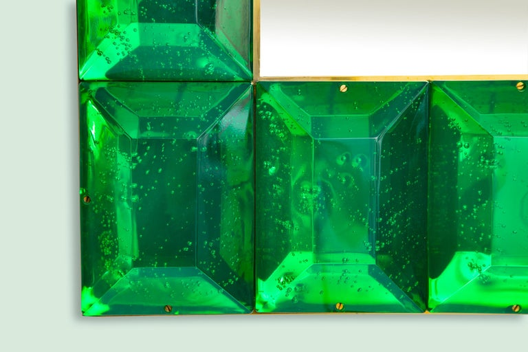 Brass Emerald Green Diamond Murano Glass Mirror, in Stock For Sale