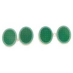 Emerald Green Enamel Reflective Oval Chain Cufflinks Set in Sterling Silver