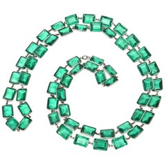Emerald Green Faceted Glass and Sterling Silver Art Deco Chicklet Necklace