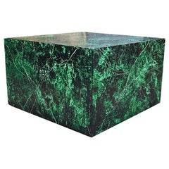 Emerald Green Faux Malachite Finish Low Wood Square Coffee or Cocktail Table
