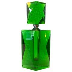 Emerald Green Handcut Crystal Art Deco Perfume Bottle