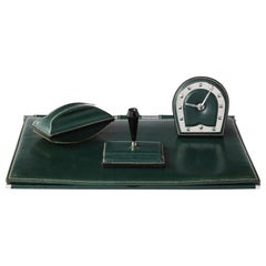 Emerald Green Leather Desk Set by Jacques Adnet, France, 1950s