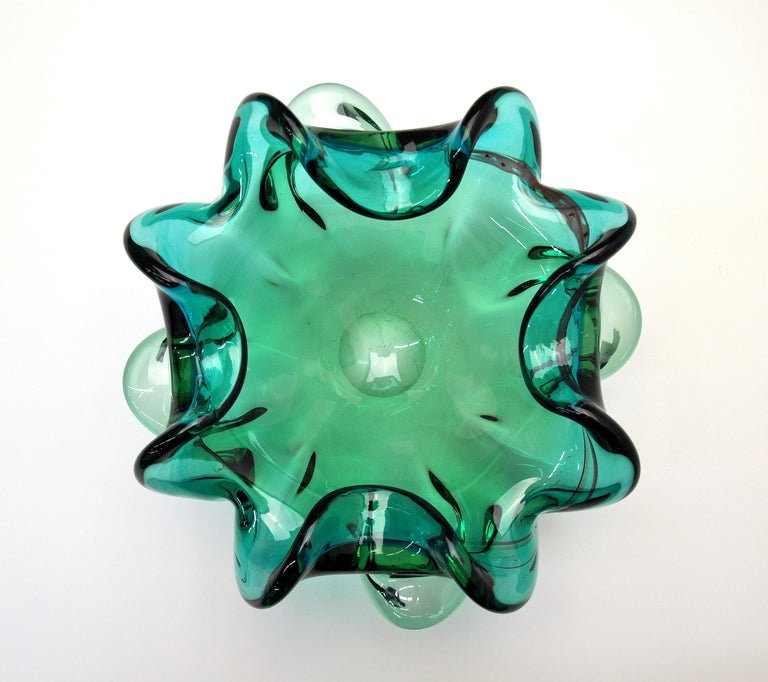Mid-Century Modern Emerald Green Murano Glass Bowl For Sale