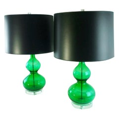 Emerald Green Murano Glass Table Lamps with Lucite Bases & Chrome Accents, Pair