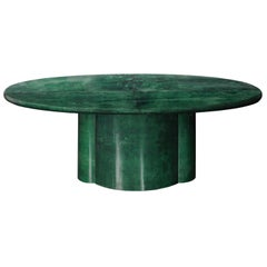 Emerald Green Parchment Goatskin Oval Dining Table Made in Italy