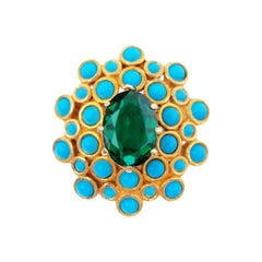 Emerald Green Rhinestone Statement Brooch by DeNicola, circa 1960, Signed
