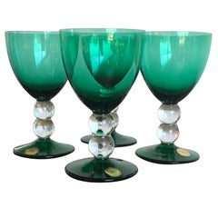 "Emerald Green Set of 4 Handcut / Mouth Blown Goblets by ""Block Crystal"""