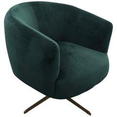 Emerald Green Velvet Swivel Club Chair