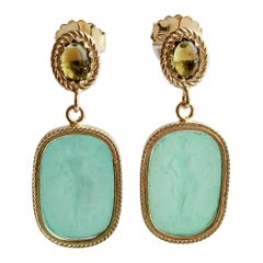 Emerald Green Venetian Glass Intaglios with Peridot Posts, Ravello II Earrings