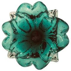 Emerald Green Venetian Hand Blown Glass Ashtray Vide Poche Bowl