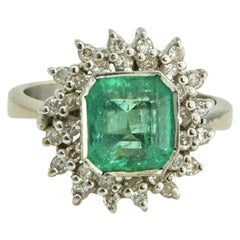Emerald Green with Marquise Diamond Halo Ring