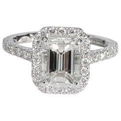 Emerald Halo Diamond Engagement Ring in 14 Karat White Gold G VS2 2.01 Carat