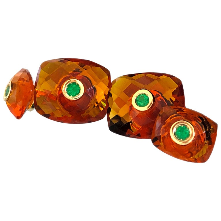 Berca Emerald Hand Inlaid Faceted Citrine Quartz Setting Yellow Gold Cufflinks For Sale