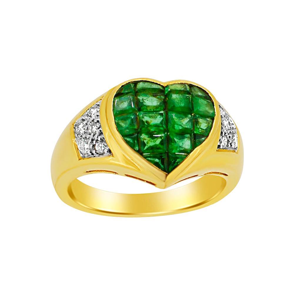 Emerald Heart Invisible Setting Ring & Diamond 18 Karat Gold