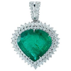 Takat 32.80 Cts Emerald Heart Shape And Diamond Pendant In 18K White Gold
