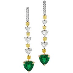 Takat Emerald Heart Shape And Yellow Diamond Earring In 18K White Gold