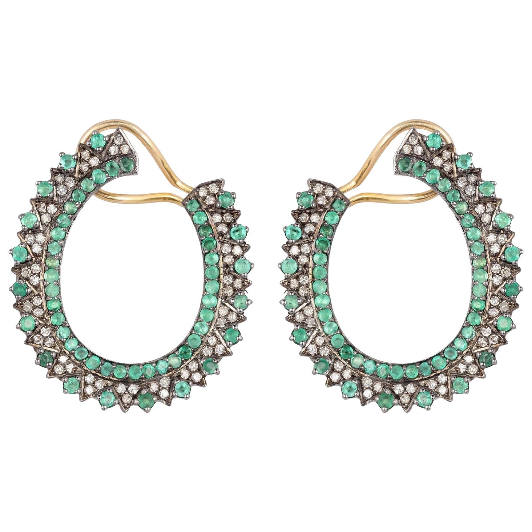 Emerald Hoop Diamond Earrings