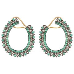 Emerald Hoop Diamond Earrings