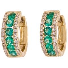 Emerald Hoop Earrings, Diamond Boarder, 14 Karat Gold Huggies, Vibrant Green