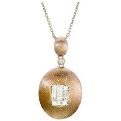 Emerald Illusion Diamond Pendant Necklace 18 Karat Rose Gold