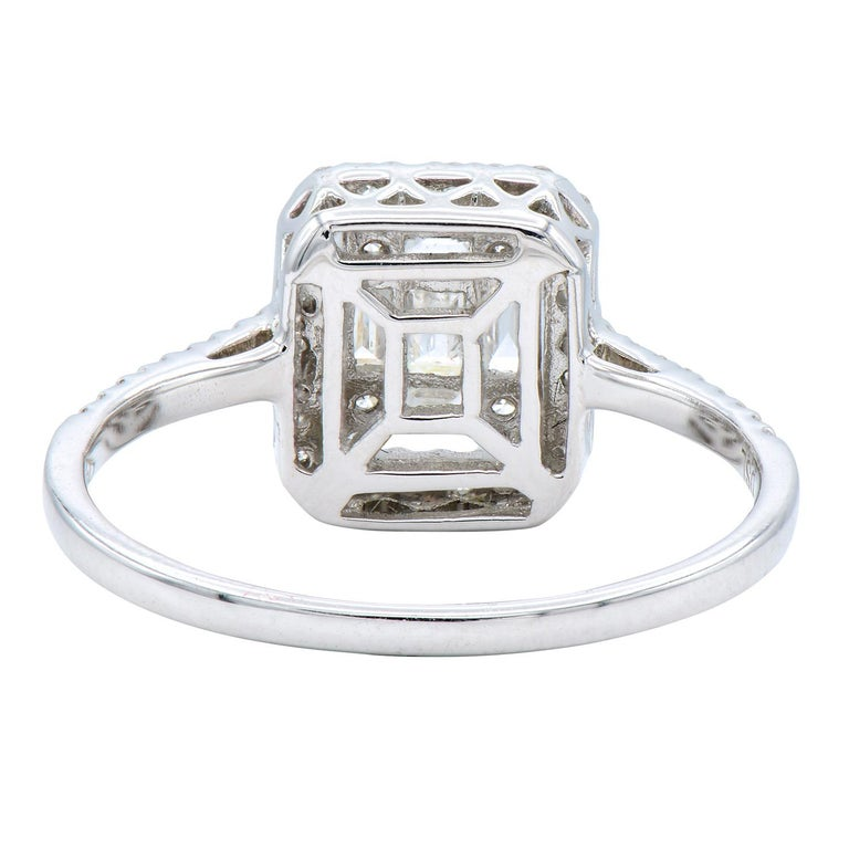 Baguette Cut Emerald Illusion with Halo Diamond Ring For Sale